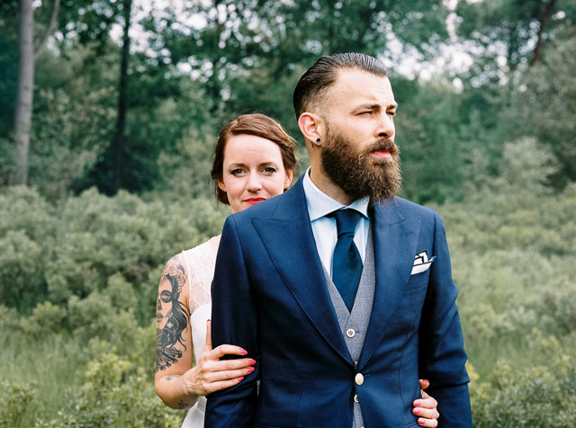forest wedding tattoo bruid bruidegom hipster bruiloft