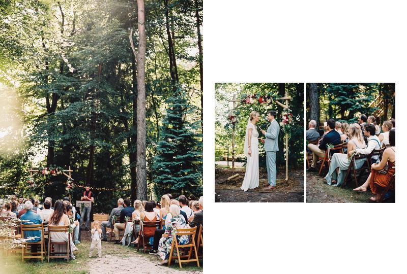 rustieke bohemian bruiloft bos ceremonie